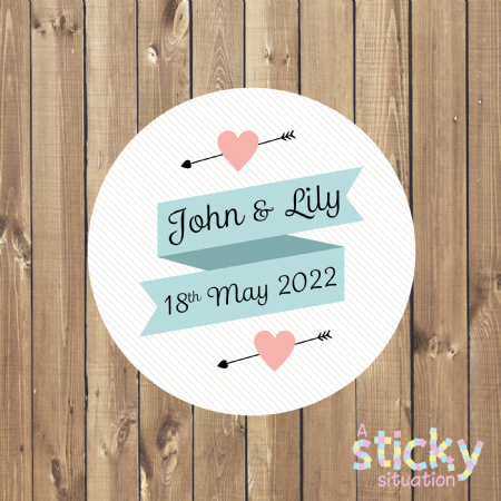 Personalised Wedding Stickers - Simple Scroll Design